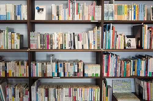 Photo of bookshelves with books on them