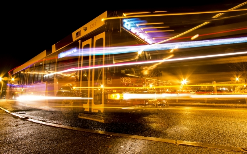 Bus at night
