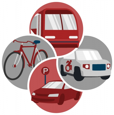 Transportation services logo, three circles maroon and grey