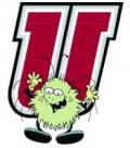 "Graphic with a comic-style ""bug"" in front of a UMass logo-style letter 'U'."