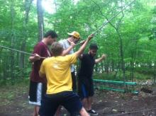 New Student Orientaiton staff at ropes course