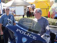 Officer and visitor at the Big E