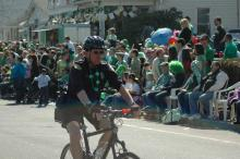 Bike unit officer at St. Patty's Day parade