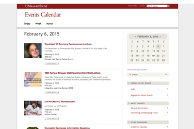 The UMass events calendar is a central resources for what is happening on campus.