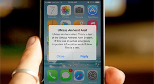 Phone with UMass Amherst emergency alert