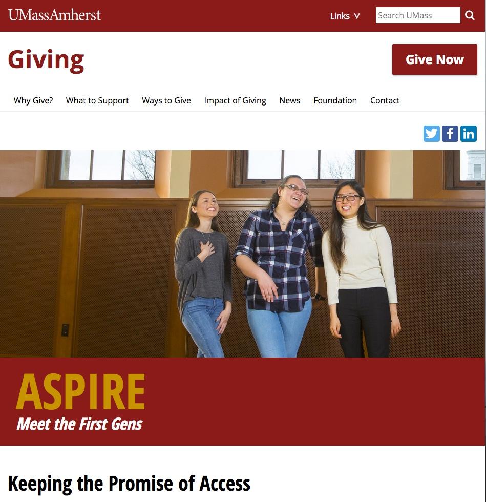 ASPIRE Meet the First Gens at UMass Amherst