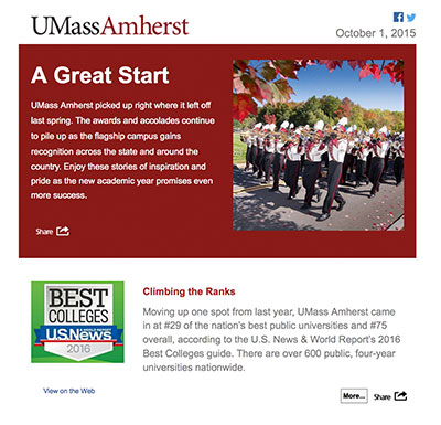 UMass Amherst ContentMX sample newsletter