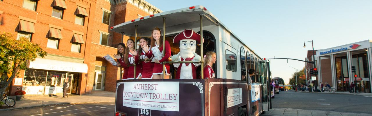 Sam the Minuteman on the Amherst trolley