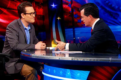 "UMass graduate student Thomas Herndon on the ""Colbert Report."""