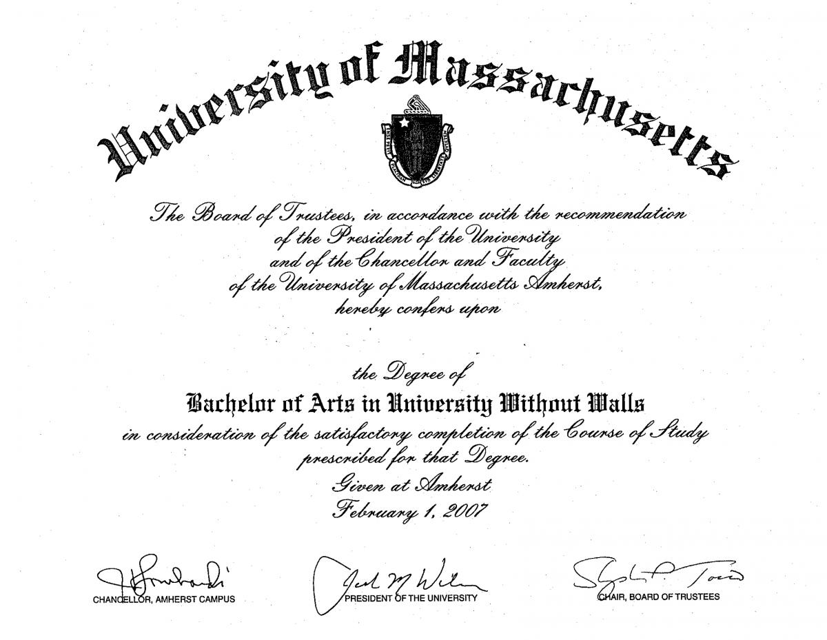 Frequently asked questions umass amherst university without walls heres a sample of what your diploma yadclub Images