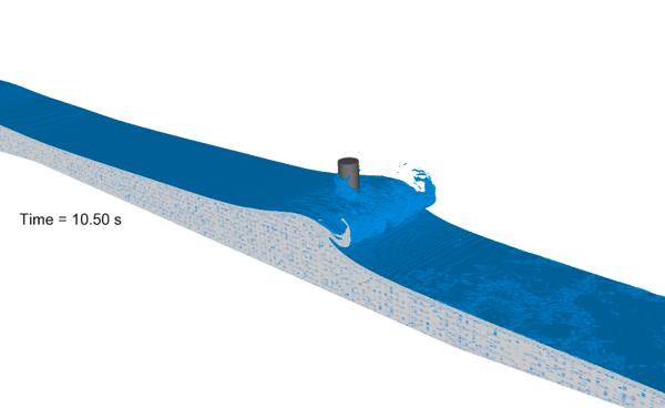 Breaking wave simulation run by Hannah Jolas