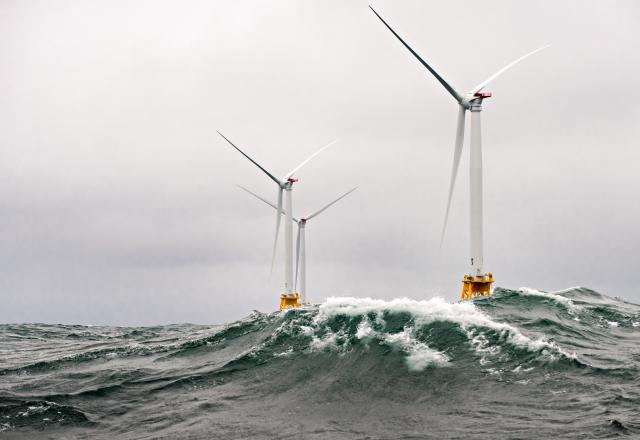 Wind turbines in waves