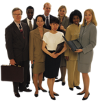 diverse group of working professionals