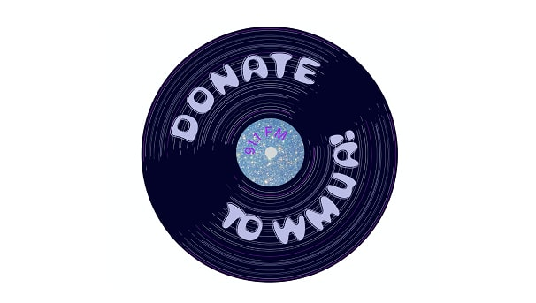 "vinyl record with ""donate to WMUA"" written on it"