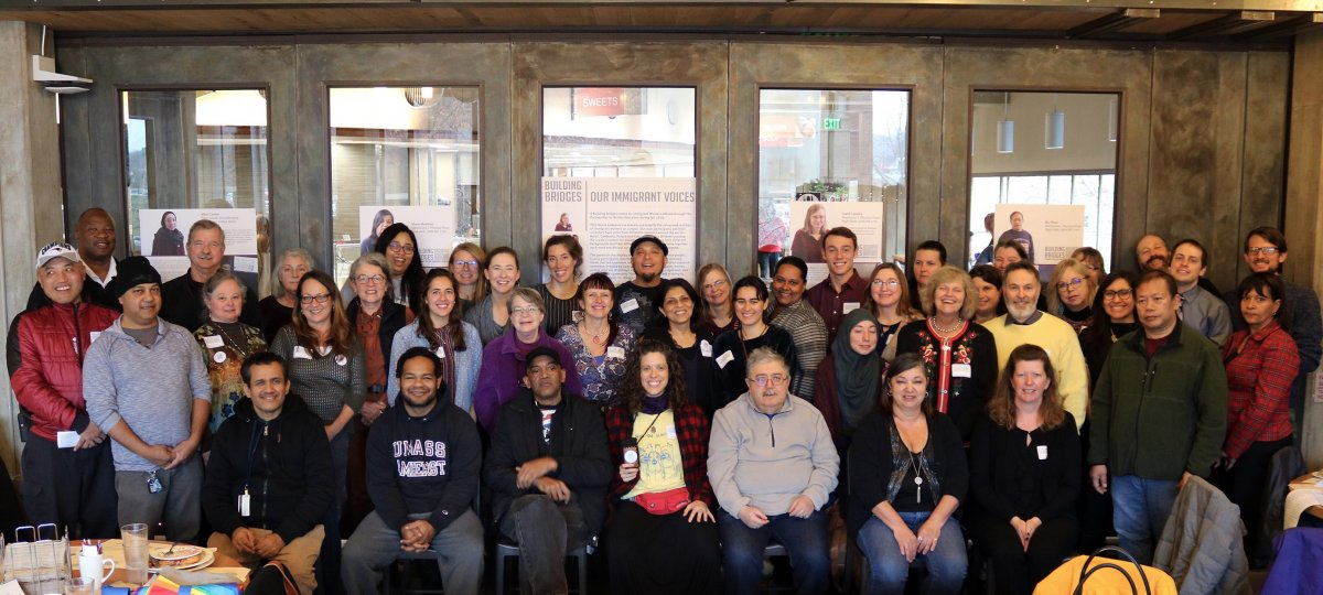 group photo from our December 2019 lunch gathering and Photovoice exhibit