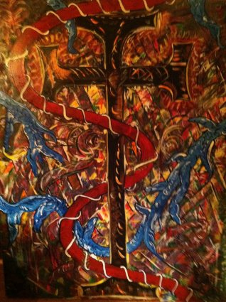 Here is a painting of a cross-like object against a wild and fiery collage of colors.