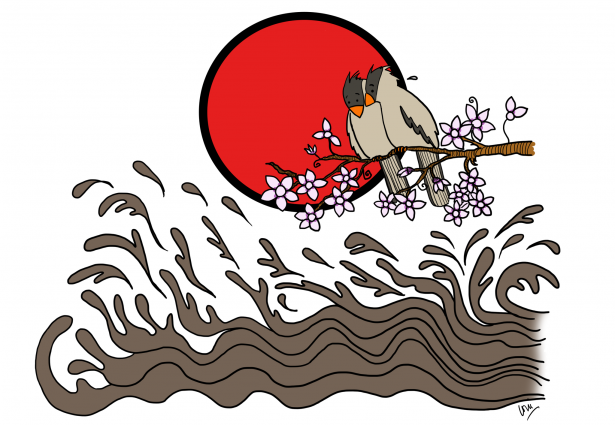 Here is a painting in the style of a Japanese print, two birds on a branch against a red sun, above a stylized water waves.